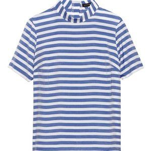 Banana Republic Blue Button-Back Stripe Top Size M